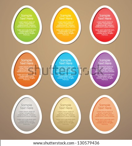 Easter eggs, banners and tags - stock vector