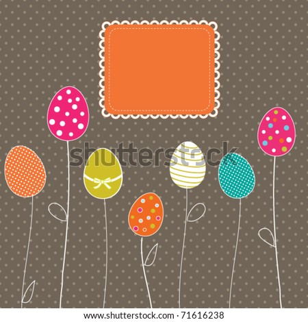 Easter eggs card with frame and polka dot background - stock vector