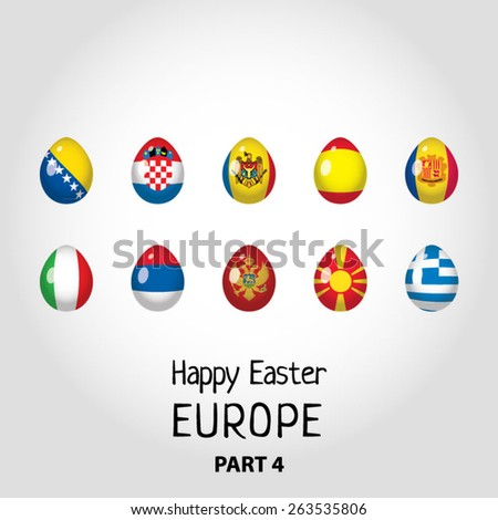 Easter eggs colored as flags of European countries - part 4 - stock vector