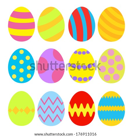 Easter eggs colorful set. Isolated. Vector illustration. - stock vector