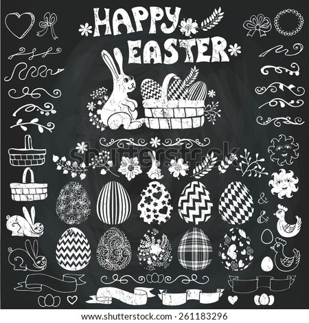 Easter eggs,decor elements set.Easter eggs with ornaments,swirling borders,rabbit,basket,chicken  Silhouettes  with ribbons,badges.Vector.Hand drawing set for design template - stock vector