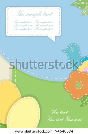 Easter eggs-flowers card with Sunny Patchwork Background, sewn together with various stitches and a hand drawn label in vector - stock vector