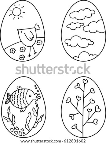 Easter Eggs Coloring Hand Drawn Outline Stock Vector 612801602 ...