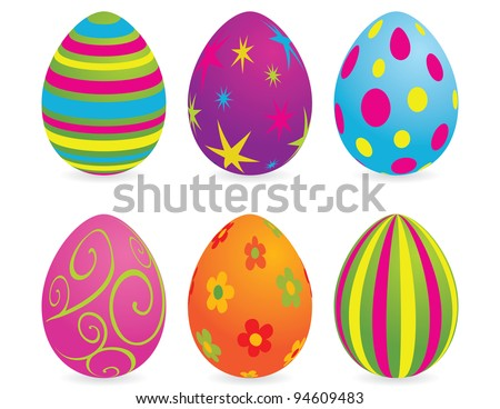 Easter eggs. Global colors. - stock vector