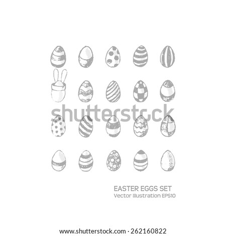 Easter eggs hand drawn set. Grey colors. Grunge style. Use for website, greeting card or presentation decoration. Vector illustration EPS10. - stock vector