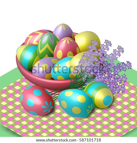 Easter Eggs In A Plate On The Tablecloth. Vector, Isometric, Illustration  For Postcards