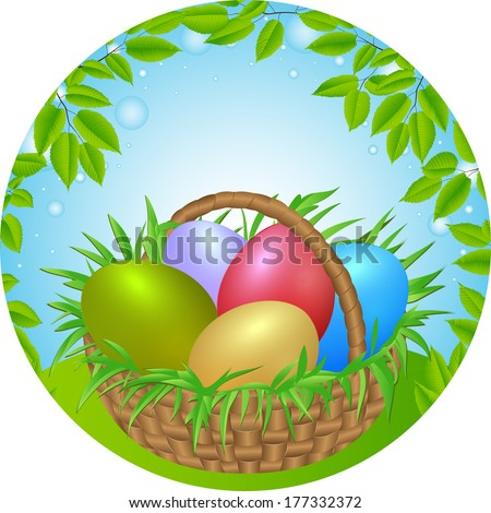 Easter eggs in a wicker basket. vector illustration