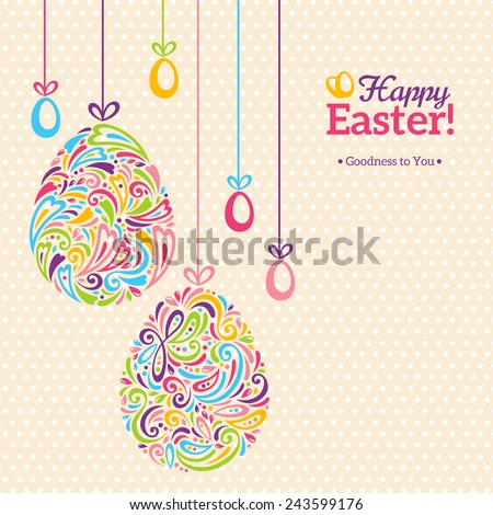Easter eggs in doodle minimalism style with place for your text. Easter template design, greeting card. Abstract retro shape. - stock vector