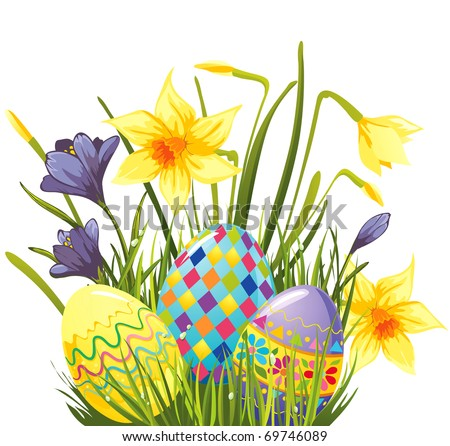 Easter eggs in flowers and grass - stock vector