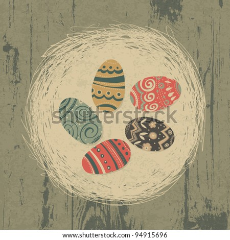 Easter eggs in nest on wooden texture. Easter background, retro styled. - stock vector
