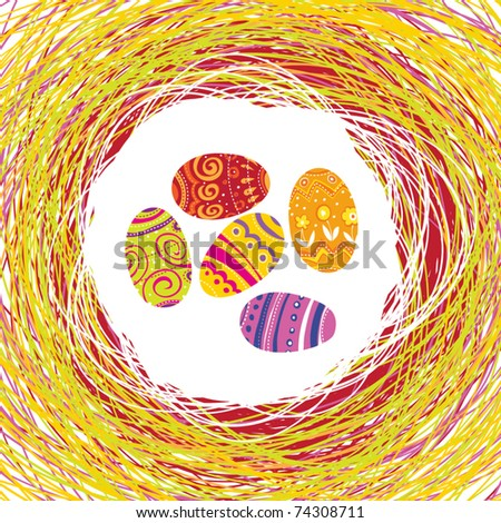 Easter Eggs in the colorful nest. Editable by layers, vector. - stock vector