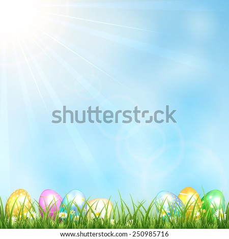 Easter eggs in the grass and blue sky, illustration. - stock vector