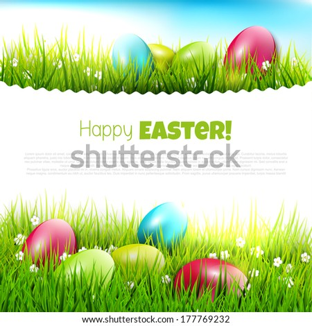 Easter eggs in the grass - Easter illustration with copyspace  - stock vector
