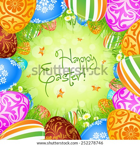 Easter Eggs in the Grass with Flowers and Butterflies - stock vector