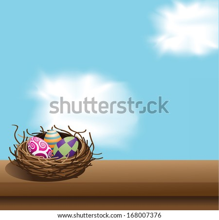 Easter eggs in the nest background. EPS 10 vector, grouped for easy editing, No open shapes or paths. - stock vector