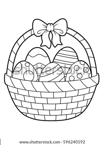 Easter Eggs On A Basket Line Art