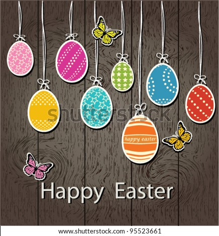 Easter eggs on a wooden wall background - stock vector