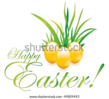 Easter eggs on grass - stock vector