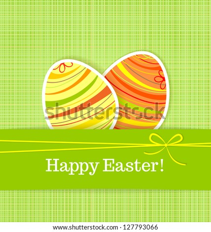 Easter eggs on green seamless linen background - stock vector