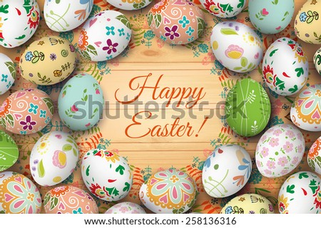 Easter eggs on the wooden table. Vector. Holiday background. Set of Isolated Easter eggs.  - stock vector