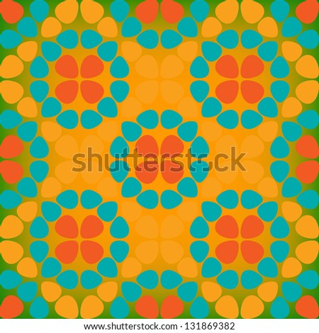 Easter eggs seamless spring pattern. Vector illustration. Orange background