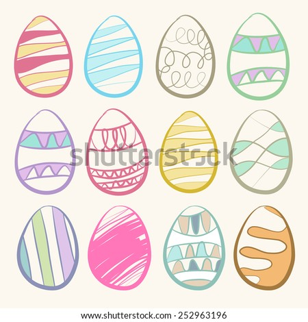 easter eggs set. vintage color - stock vector