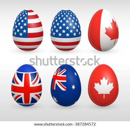 Easter eggs set with united states flags images vector icons collections easter eggs with USA, Canada, Great Britain, Australia style striped and stars red blue flags vector signs - stock vector