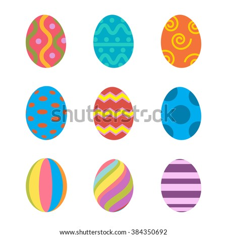 Easter eggs vector icons flat style. Easter eggs isolated vector. Easter eggs for Easter holidays design. Easter eggs icons flat modern style. Easter eggs isolated on white background.  - stock vector