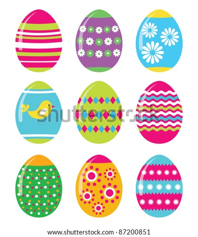 Easter eggs vector set, EPS10 - stock vector