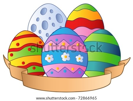 Easter eggs with banner - vector illustration. - stock vector