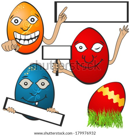 Easter eggs with banners 1, Collection of different  Easter eggs with banners, serial 1 - stock vector