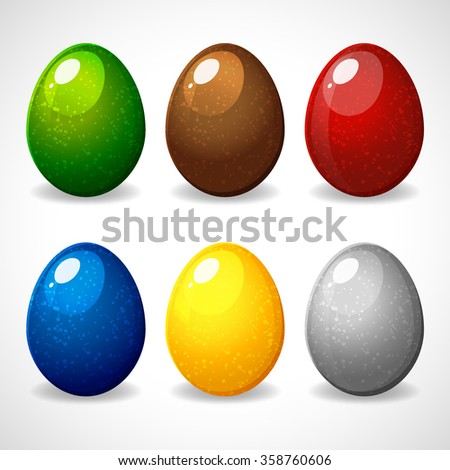 Easter eggs with colorful designs. Set easter eggs. Happy Easter. Vector