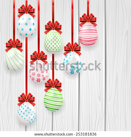 Easter eggs with red bow on wooden background, illustration. - stock vector