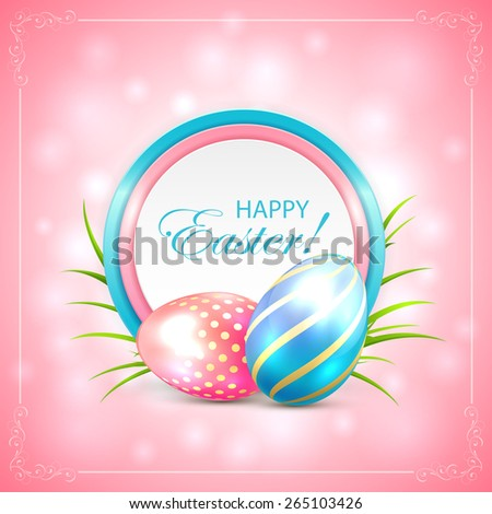Easter eggs with round card on pink background, illustration. - stock vector