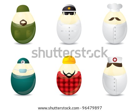 Easter eggs with uniform - stock vector