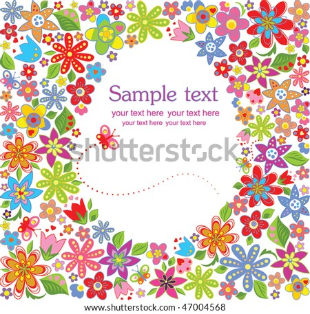 Easter floral card - stock vector