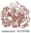 Easter floral henna design. The vector paisley abstract background isolated on white - stock vector