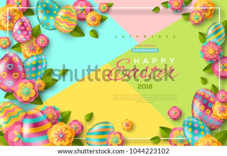 Easter Flyer Template Paper Cut Flowers Stock Vector Hd Royalty