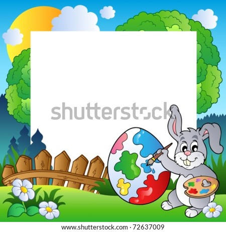 Easter frame with bunny artist - vector illustration.