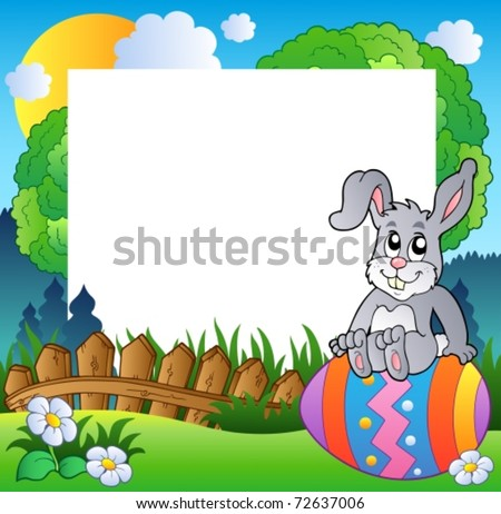 Easter frame with bunny on egg - vector illustration.