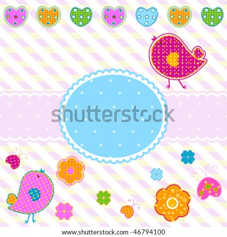 easter frame with cute little birds