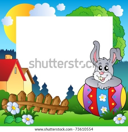 Easter frame with egg and bunny - vector illustration.