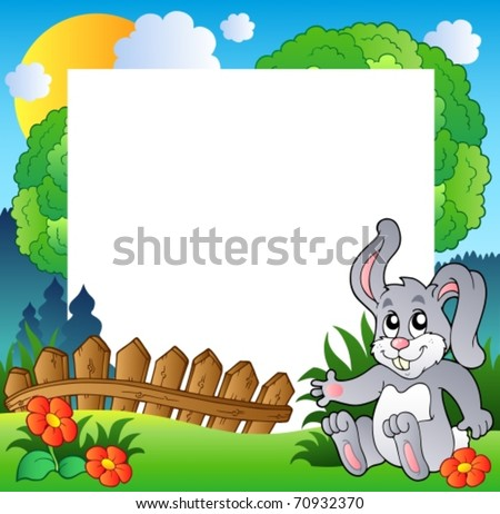 Easter frame with happy bunny - vector illustration. - stock vector