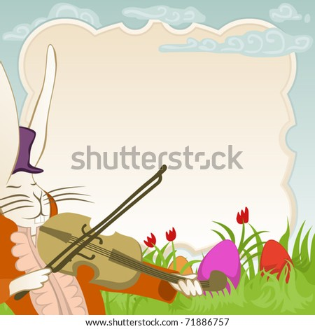 easter frame with violinist bunny - stock vector