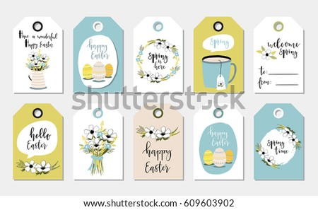 Easter gift tags cute flowers eggs stock vector 609603902 easter gift tags with cute with flowers eggs and greetings set of bright holiday negle Choice Image