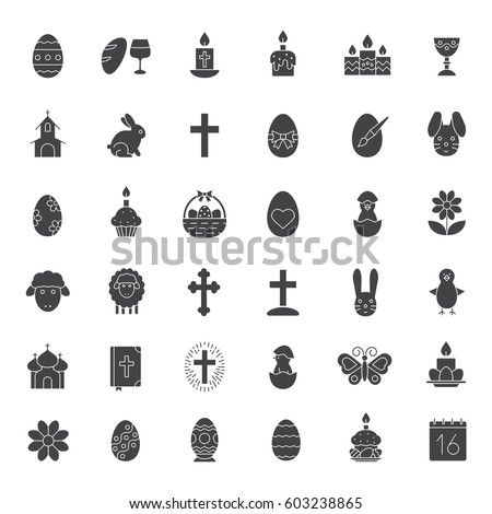 Easter Glyph Icons Set April 16 Stock Vector 603238865 Shutterstock