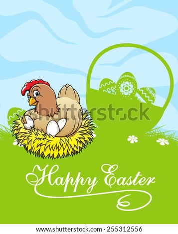 Easter greeting card template in cartoon style depicting green meadow with cute chicken on nest near wicker basket with decorated easter eggs - stock vector