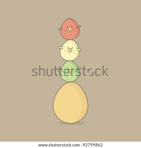 Easter greeting card with an egg and birds on it. Vector EPS10. - stock vector