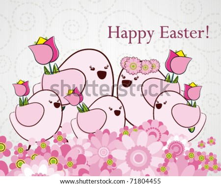 Easter greeting card with birds. - stock vector