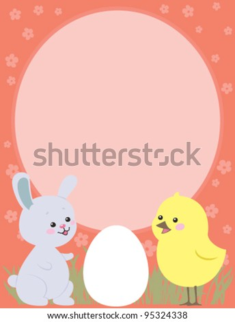 Easter greeting card with Bunny and Chicken